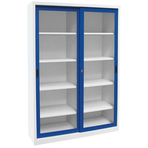 Armoire haute monobloc portes coulissantes ch avec vitrine - Armoire 150 cm portes coulissantes ...