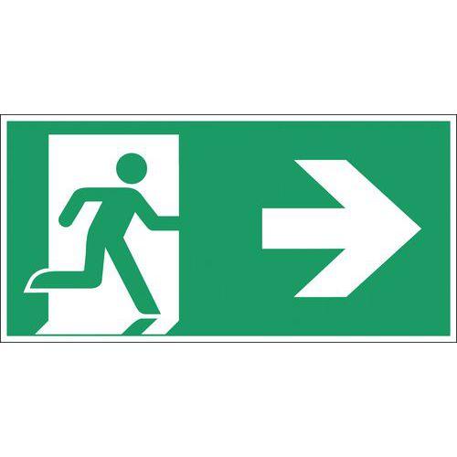 Noodevacuatiebord - Nooduitgang naar rechts - Hard