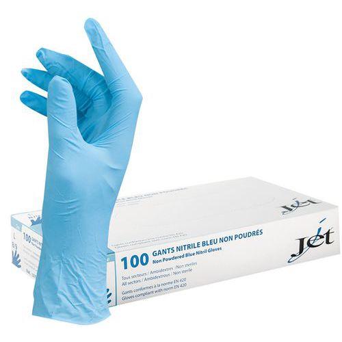 Niet-gepoederde blauwe nitrilhandschoen