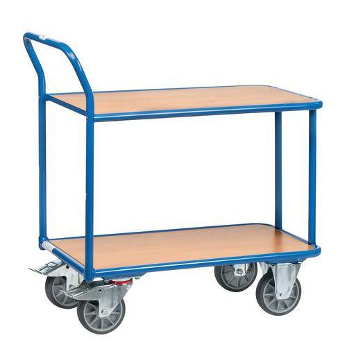 chariot plateaux bois 2 plateaux force 400 kg. Black Bedroom Furniture Sets. Home Design Ideas