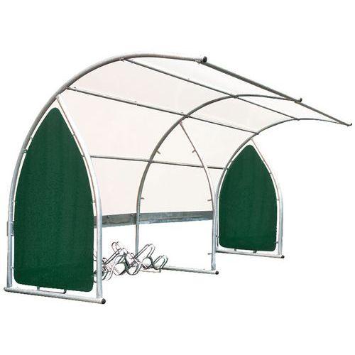 Fietsenstalling met rondlopend dak - Basismodule met fietsenrek met 6 plaatsen