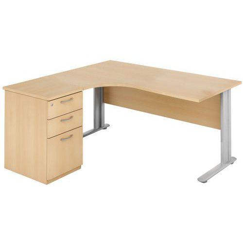 Bureau compact avec caisson h tre manutan - Bureau avec caisson ...