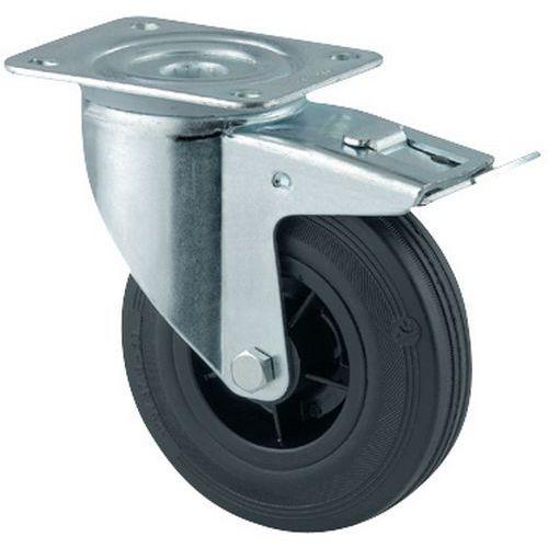 Zwenkwiel met grondplaat met rem - Draagvermogen 70 tot 295 kg