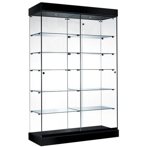 vitrine asf avec clairage halog ne noir. Black Bedroom Furniture Sets. Home Design Ideas