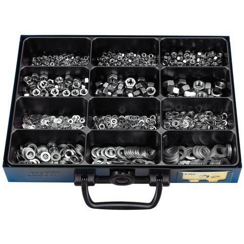Assortimentskoffer met zeskantmoeren en sluitringen in roestvrij staal - 1700 stuks