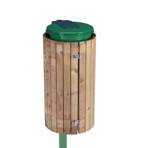 support pour sac poubelle sur poteau finition bois 110 l. Black Bedroom Furniture Sets. Home Design Ideas