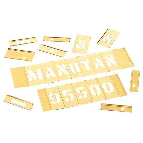 Sjabloon in messing - Set van 92 alfanumerieke tekens