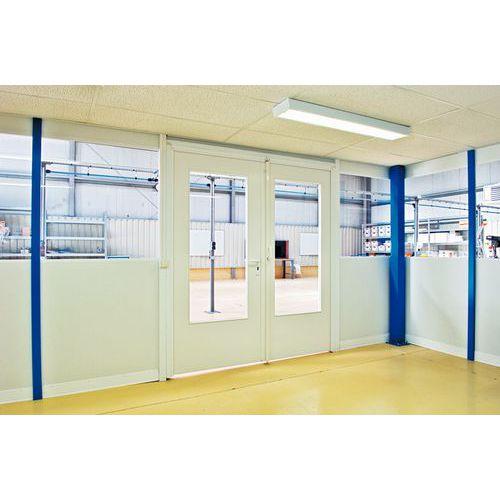 Porte battante pour cloisons d 39 atelier m lamin panneau semi vi - Panneau vitre cloison ...