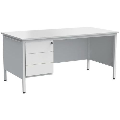 bureau droit confort 2 avec 1 caisson gris clair. Black Bedroom Furniture Sets. Home Design Ideas
