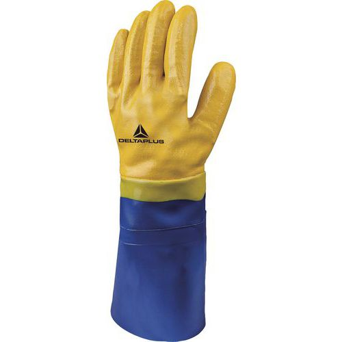 Handschoen nitril Blauw/Geel Lengte 40 Cm