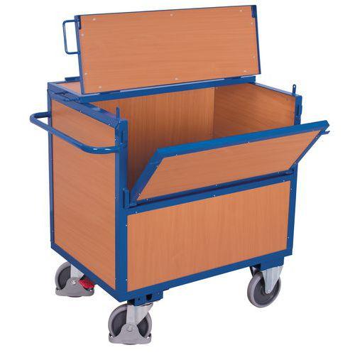 Ergonomische wagen met kist hout - 1 wand 1/2 neerklapbaar - Draagvermogen 500kg