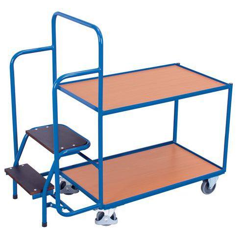 Wagen met houten plateaus en opstapkrukje - Draagvermogen 250kg
