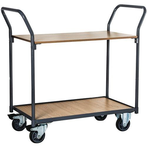 Tafelwagen 2 houten plateaus - Draagvermogen 250 kg - Manutan