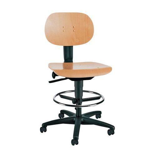 Werkplaatsstoel TEC - Hoog - Op glijdoppen/wielen