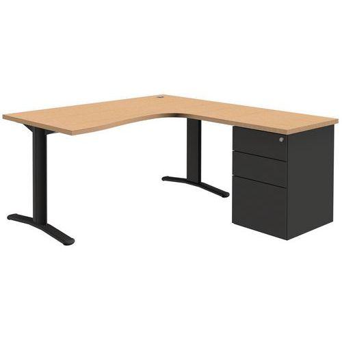 Compact bureau adjust met ladeblok vast onderstel for Ladeblok metaal
