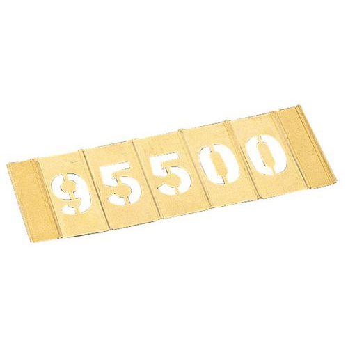 Messing sjabloon van messing - Set van 15 cijfers