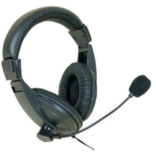 Stereo headset met microfoon - zwart