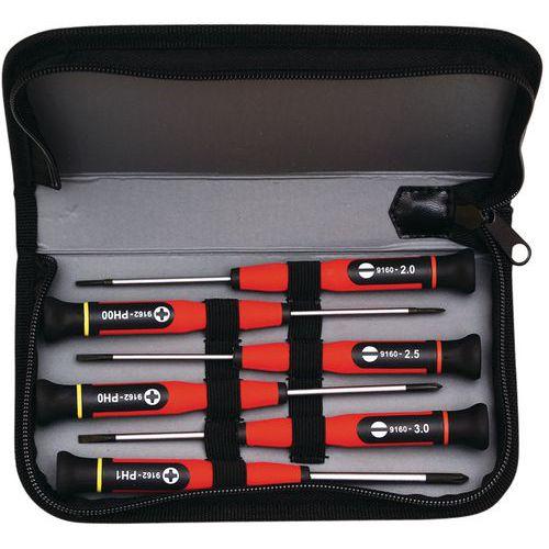Tas voor precisieschroevendraaiers - 6 microschroevendraaiers