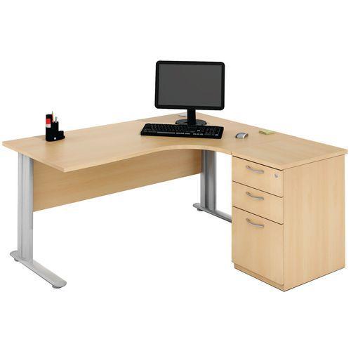 Bureau compact avec caisson h tre - Bureau avec caisson ...