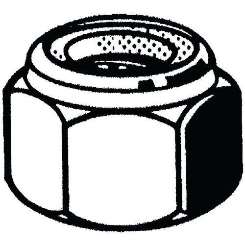 Zeskantmoer zelfborgend met kunststof ring rechts verzinkt staal_12410
