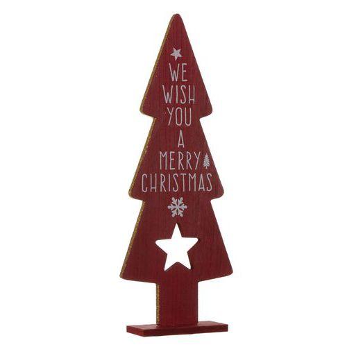 Houten Figuur Kerstboom Rood H35 5 Cm
