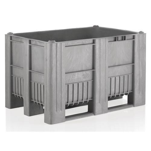 Kunststof palletbox uit één stuk - grijs - 3 sleden