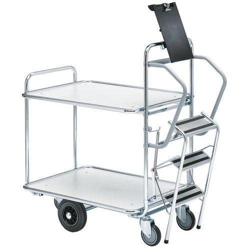 Wagen voor het voorbereiden van bestellingen met trap - 2 plateaus - draagvermogen 300 kg