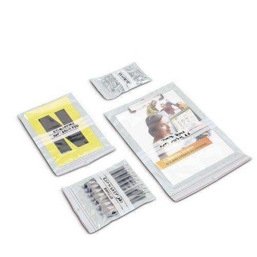 Verpakkingszakje Minigrip® 60 micron - Met witte stroken - Met ventilatiegaten