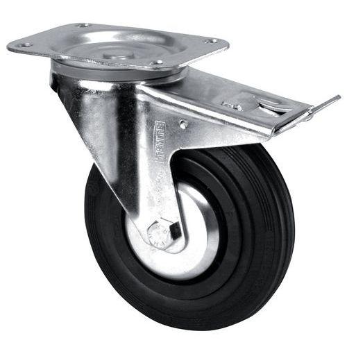 Zwenkwiel met grondplaat geremd - Draagvermogen 70 tot 200 kg
