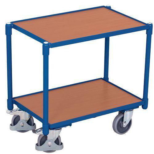 Wagen met 2 houten plateaus voor Euronorm-bakken - Draagvermogen 250 kg