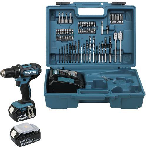 Perceuse visseuse Makita 18V 3Ah 13mm + kits d'accessoires