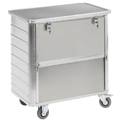 Aluminium containerwagen - schuifbord - Capaciteit 355 tot 650 L
