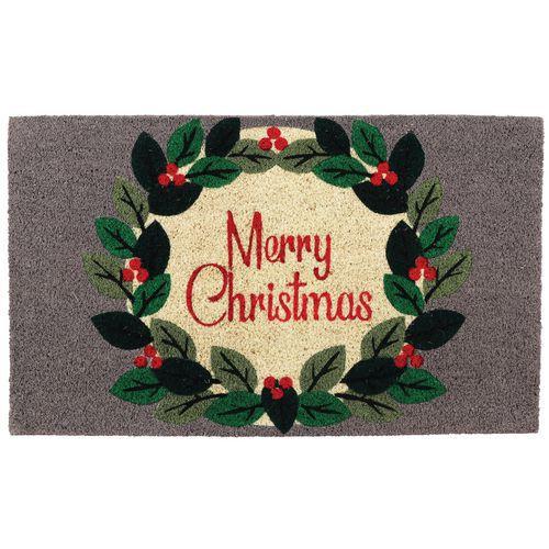 Deurmat Merry Christmas grijs 75 x 45 cm