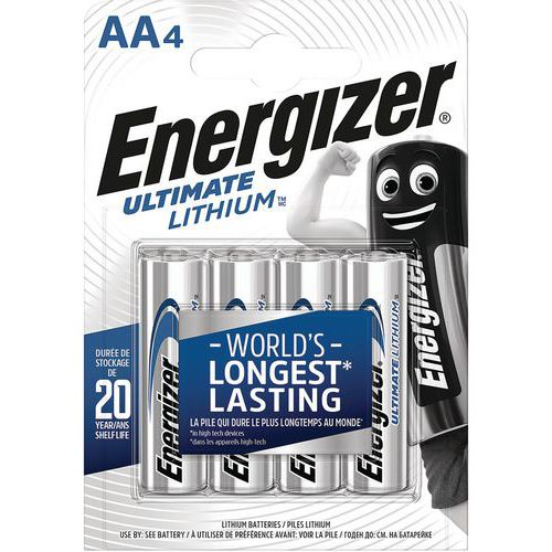 Pile Lithium Ultimate - AA/LR6 - 1.5 V - Lot de 4 - Energizer