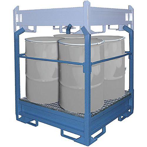 Stapelframe met opvangbak voor 4 vaten van 200 L
