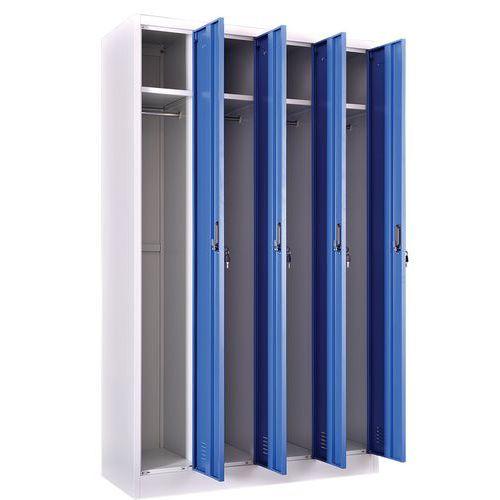 Garderobekast schone industrie 4 kolommen - zelf te monteren - Manutan